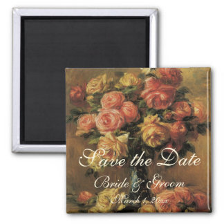 Vintage Save the Date! Roses in a Vase 3 by Renoir Square Magnet