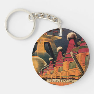 Vintage Science Fiction Futuristic City Flying Car Double-Sided Round Acrylic Key Ring