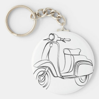 Vintage Scooter Basic Round Button Key Ring