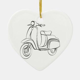 Vintage Scooter Ceramic Heart Decoration