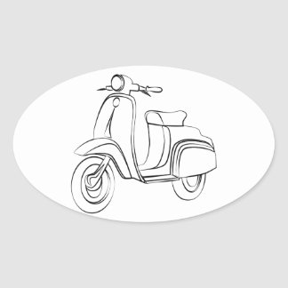 Vintage Scooter Oval Sticker