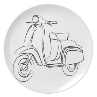Vintage Scooter Party Plates