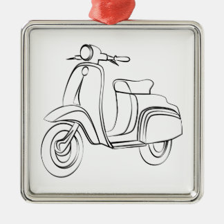 Vintage Scooter Silver-Colored Square Decoration