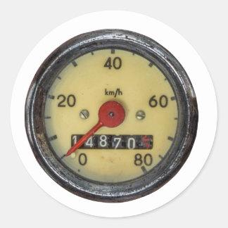 Vintage Scooter Speedometer Round Sticker