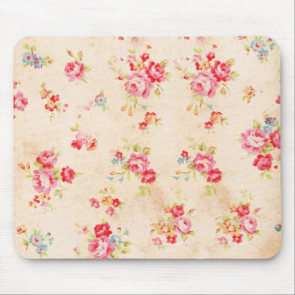 Vintage Shabby Chic Girly Pink Blue Roses Floral Mouse Pad