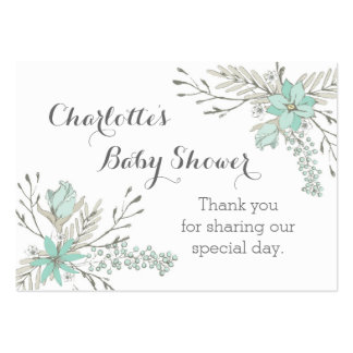 Vintage Sky Blue Floral Baby Shower Favor Tags Pack Of Chubby Business Cards