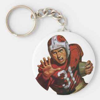 Vintage Sports Football Player Running Back No. 31 Basic Round Button Key Ring