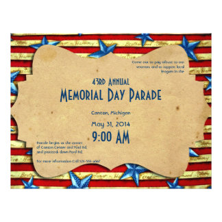 Vintage Stars and Bars Memorial Day 21.5 Cm X 28 Cm Flyer