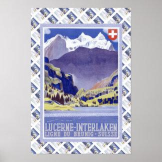 Vintage Swiss Poster Luzern to Interlaken