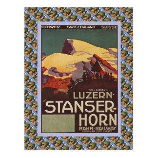 Vintage Swiss Railway Luzern Stanzerhorn Postcard