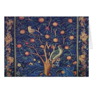 Vintage Tapestry Birds Floral Design Woodpecker Greeting Card