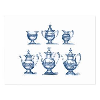 Vintage Tea Set Blue White Coffee Pot Decorative Postcard