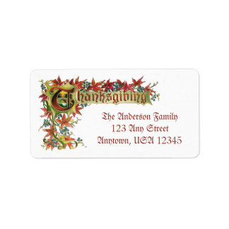 Vintage Thanksgiving Fall Foliage Address Label