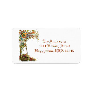 Vintage Thanksgiving Verse and Fall Foliage Address Label