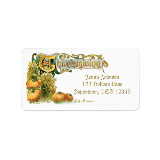 Vintage Thanksgiving Wheat and Pumpkins Address Label