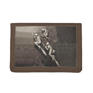 Vintage Three Halloween Witches Flying Brooms Tri-fold Wallets