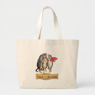 Vintage Three Little Kittens Lost Mittens Plain Jumbo Tote Bag