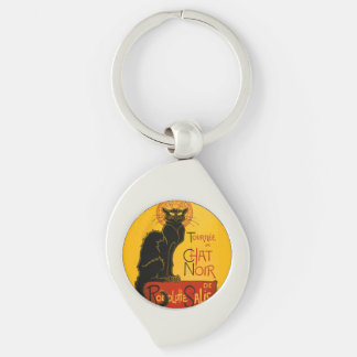Vintage Tournée Du Chat Noir Theophile Steinlen Silver-Colored Swirl Key Ring
