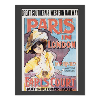 Vintage Travel, Paris in London Railroad Woman 11 Cm X 14 Cm Invitation Card