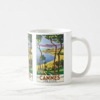 Vintage Travel Poster, Beach in Cannes, France Basic White Mug