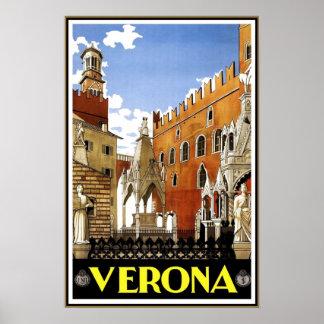 Vintage Travel Poster Verona Travel Italy