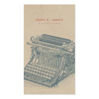 Vintage Typewriter Cool Blue Retro Modern Simple Pack Of Standard Business Cards