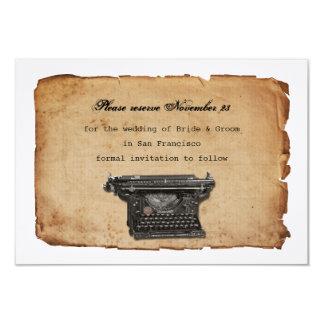 Vintage Typewriter Parchment Save the Date 9 Cm X 13 Cm Invitation Card