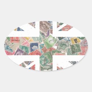 Vintage UK Flag Postage Stamp pattern Oval Sticker