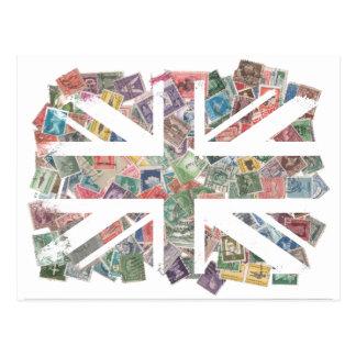 Vintage UK Flag Postage Stamp pattern Postcard
