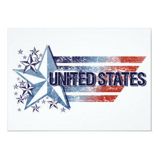 Vintage United States Flag with Star – 4th of July 13 Cm X 18 Cm Invitation Card