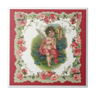 Vintage Valentine Victorian Angel Small Square Tile