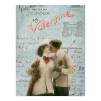 Vintage Valentine's Day Kissing Couple Collage Postcard