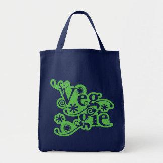 Vintage Veggie, For Vegetarians and Vegans Grocery Tote Bag