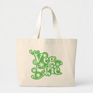 Vintage Veggie, Vegetarians Vegans Jumbo Tote Bag