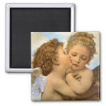 Vintage Victorian Angels, First Kiss by Bouguereau Square Magnet