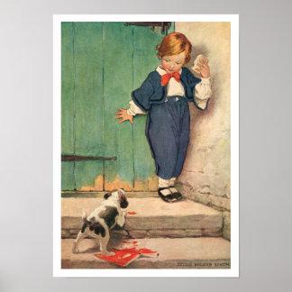 Vintage Victorian Boy, Puppy Art Print Poster