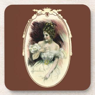 Vintage Victorian Bridal Portrait Beverage Coasters