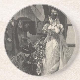 Vintage Victorian Bride, Bridal Portrait Coaster