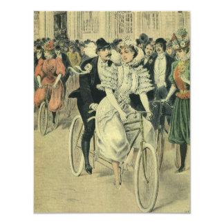 Vintage Victorian Bride Groom Ride Tandem Bicycle 11 Cm X 14 Cm Invitation Card