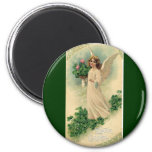 Vintage Victorian Easter Angel with Flowers 6 Cm Round Magnet