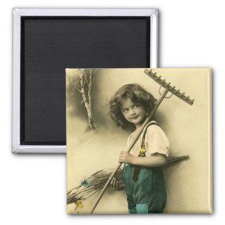 Vintage Victorian Farm Girl Fridge Magnet