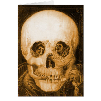 Vintage Victorian Kitsch Skull Optical Illusion Greeting Card