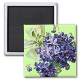 Vintage Victorian Purple Flowers Magnet