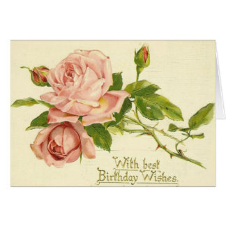 Vintage Victorian Roses Birthday Card