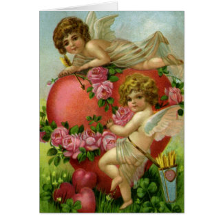 Vintage Victorian Valentines Day Angels Heart Rose Greeting Card