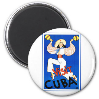 Vintage Visit Cuba 6 Cm Round Magnet