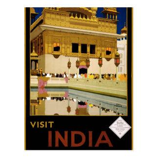 Vintage Visit India Golden Temple Travel Postcard
