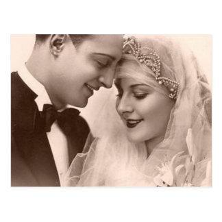 Vintage Wedding Bride and Groom Postcard