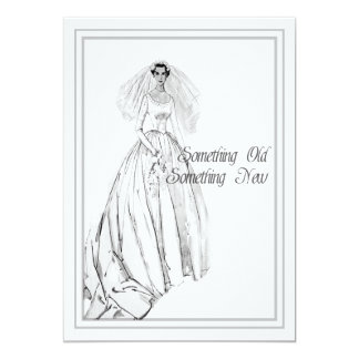 Vintage Wedding Gown Bridal Shower Something Old 13 Cm X 18 Cm Invitation Card