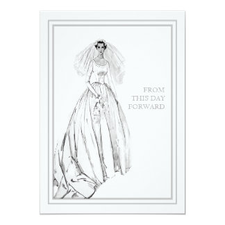 Vintage Wedding Gown From This Day Forward 13 Cm X 18 Cm Invitation Card